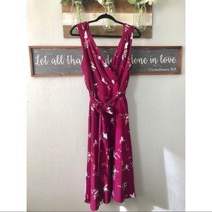 Women's sleeveless floral/bird print midi dress